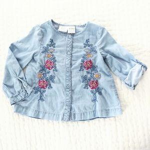 Koala Kids Baby Girl Embroidered Blue Denim Shirt